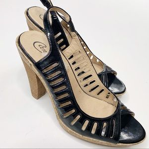 Candies Black Patent Leather Peep Phyliss 7.5 M